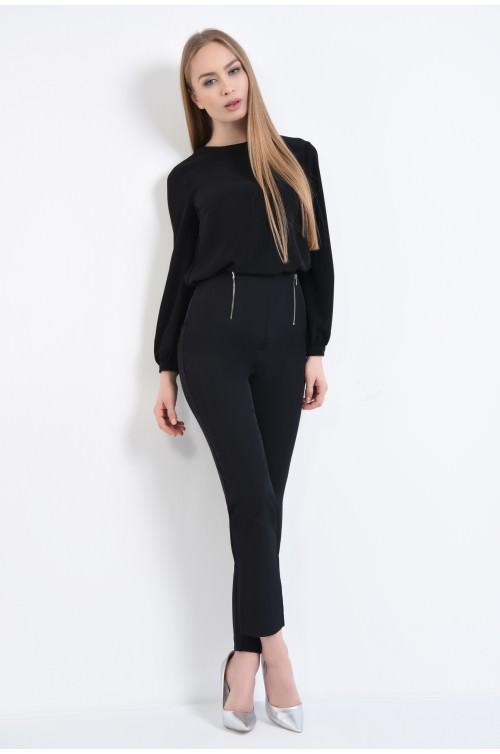 360 - Pantaloni casual negri, fara betelie