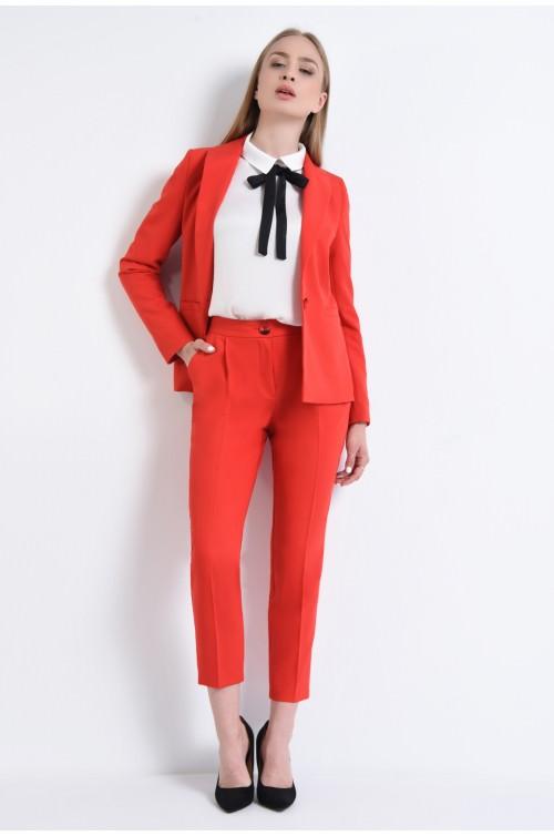 360 - Pantaloni lungi, cu buzunare, rosu