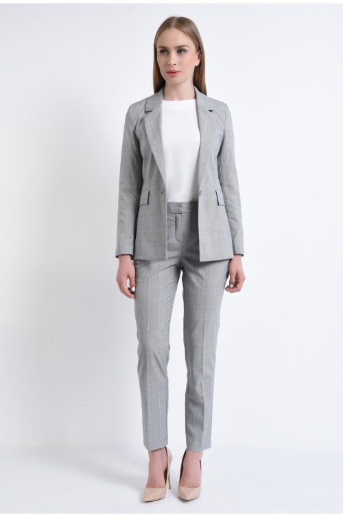 360 - Pantaloni de costum, gri, ecosez
