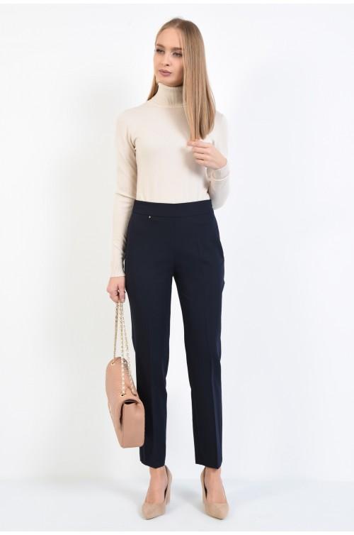 pantaloni conici, bleumarin, talie inalta
