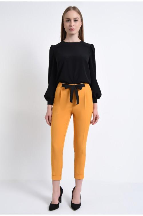 360 - Pantaloni casual, la dunga, cu pense