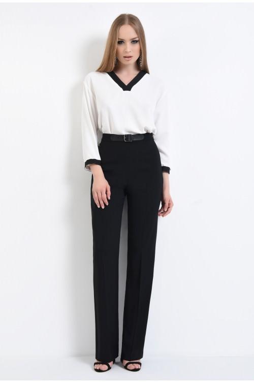 360 - Pantaloni drepti, curea neagra
