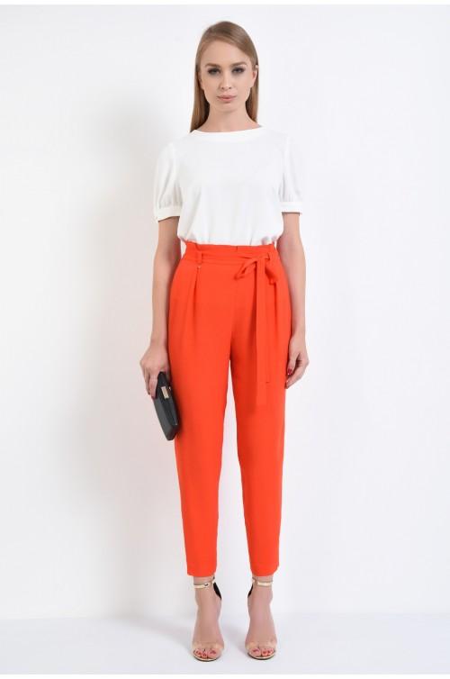 360 - pantaloni eleganti corai, cropped, viscoza, croi lejer