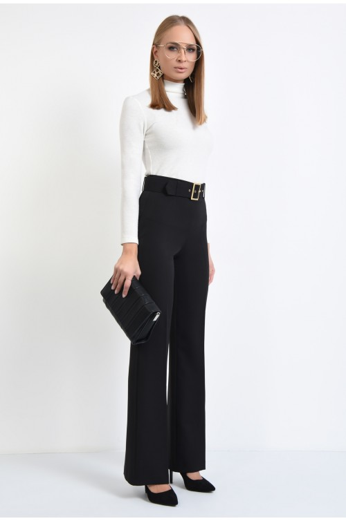 360 - pantaloni negri, croi drept, curea