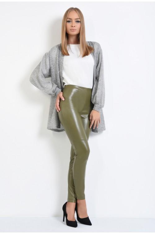 360 - pantaloni piele ecologica, kaki, fermoar la glezna, talie inalta