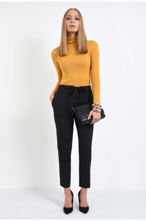 360 - pantaloni conici, negri, talie medie, snur decorativ