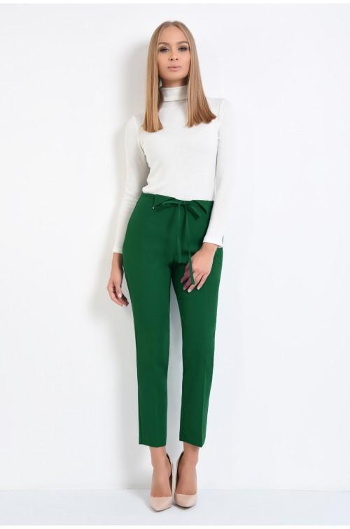 360 - pantaloni conici, verzi, talie medie, snur