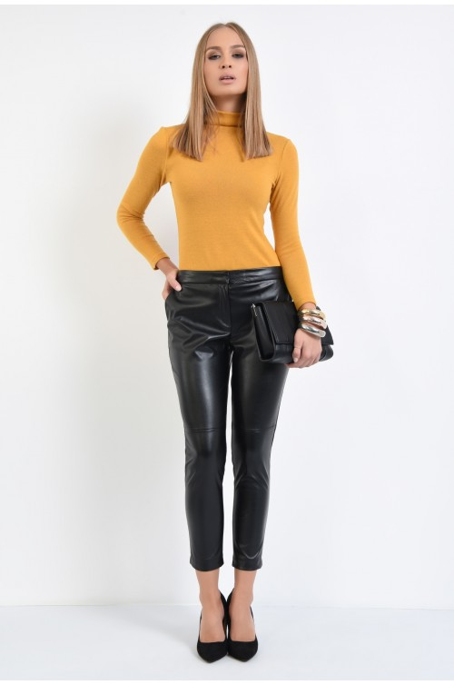 360 - pantaloni conici, piele ecologica, negri, cusatura decorativa