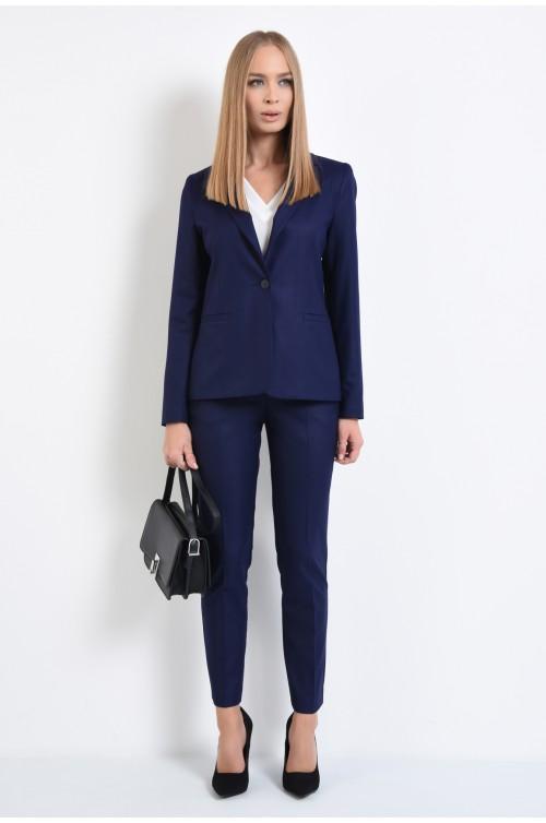 360 - pantaloni office, albastru, conici, bleumarin, talie medie, cu betelie