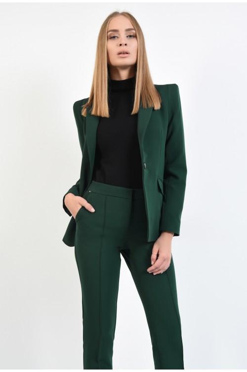 pantaloni casual, verde, croi conic la dunga, buzunare