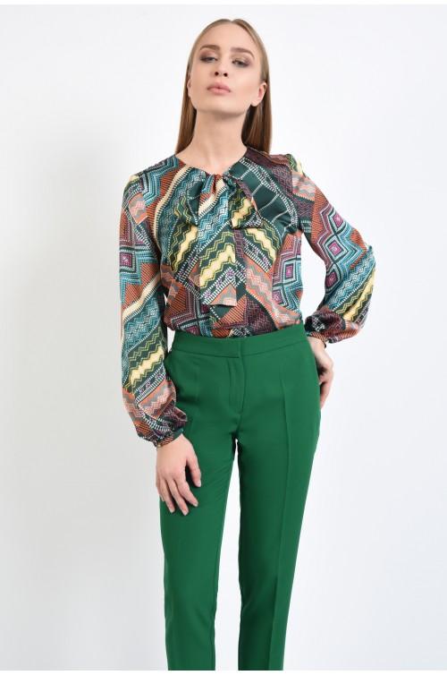 pantaloni casual, conici, verzi, la dunga, talie medie