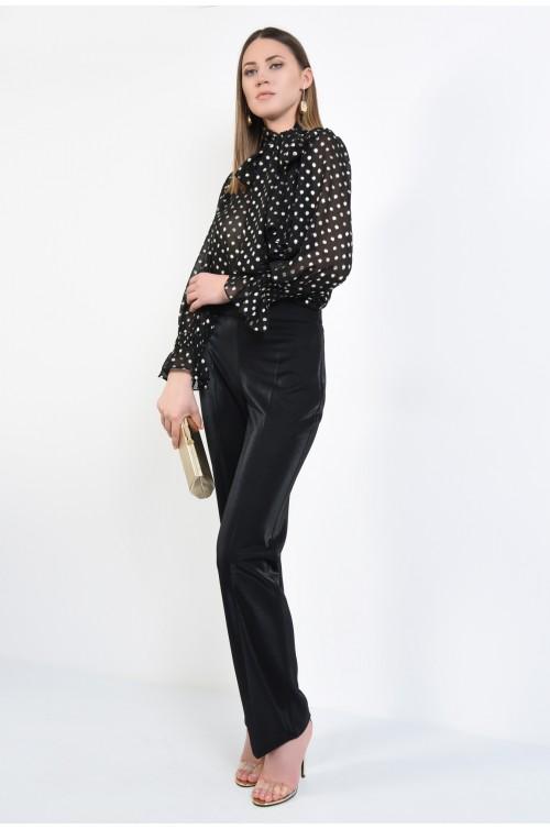 pantaloni eleganti, lurex, negru, talie inalta