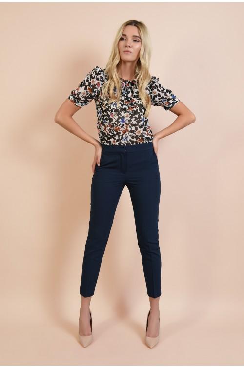 360 - pantaloni bleumarin, tigareta, cu buzunare, croi conic la dunga