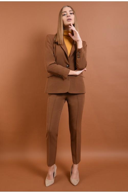 360 - pantaloni casual, maro, croi conic la dunga, buzunare
