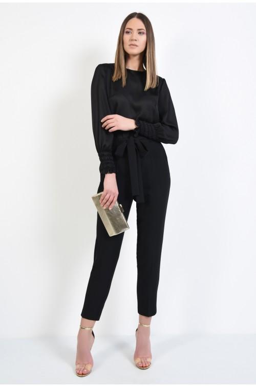 360 - pantaloni negri, conici, la dunga, cu funda la talie, pantaloni eleganti
