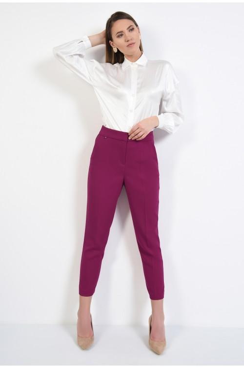 360 - pantaloni tigareta, la dunga, magenta, cu buzunare, Poema