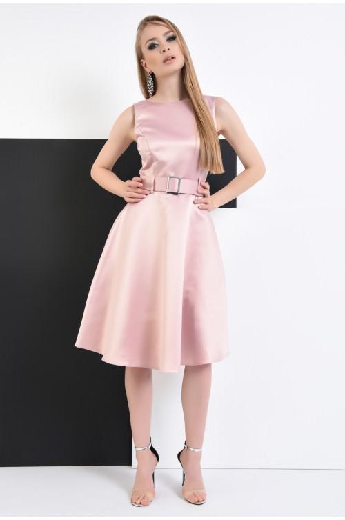 360 - Rochie roz, eleganta, evazata