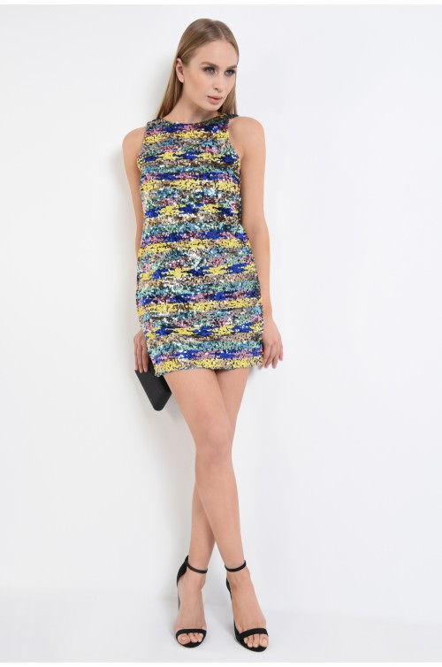360 - rochie de ocazie, scurta, din paiete multicolore, spate gol