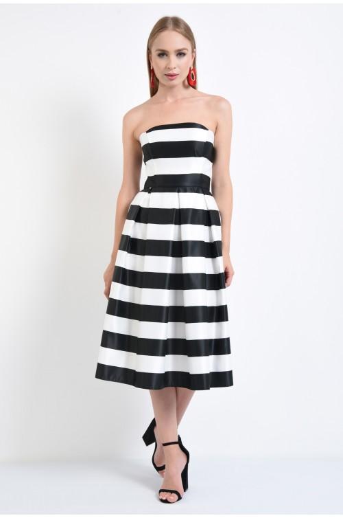360 - rochii de seara online, fusta cu pliuri, croi A-line, tafta imprimata