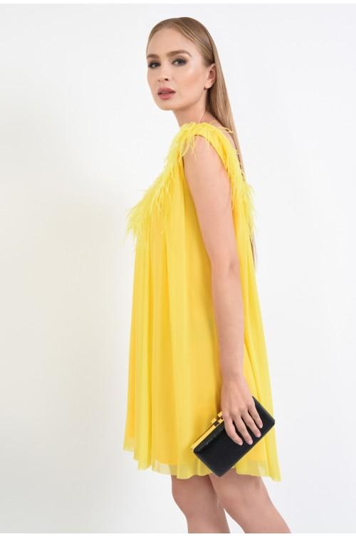 rochie de ocazie, galben, neon, pene de strut, anchior