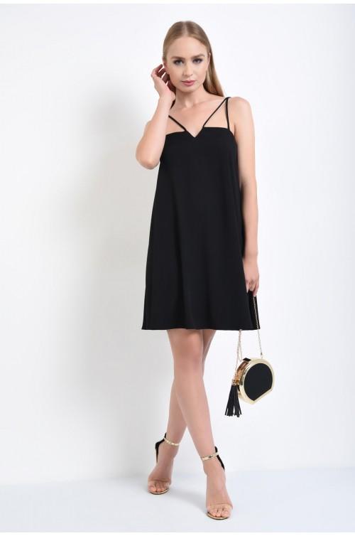 360 - rochie eleganta neagra, croi evazat, bretele incrucisate, rochie furou