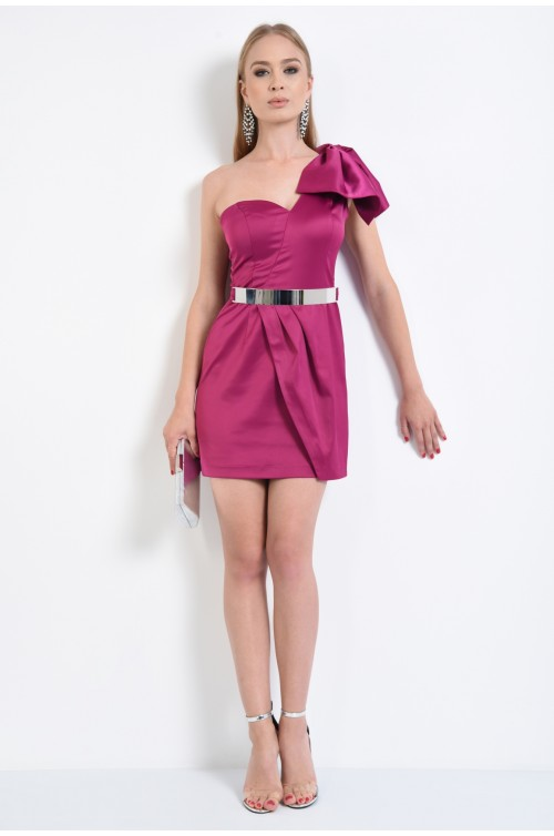 360 - rochie de seara, tafta mov, fusta drapata, mini, centura metalica