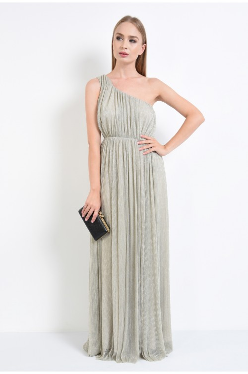 360 - rochie de seara din lurex, croi larg, lungime maxi, rochii online, bust drapat