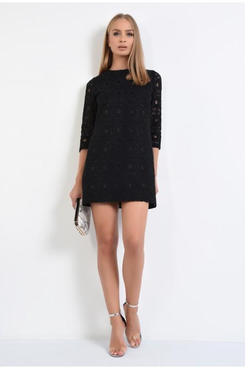 360 - rochie eleganta, scurta, din dantela, neagra