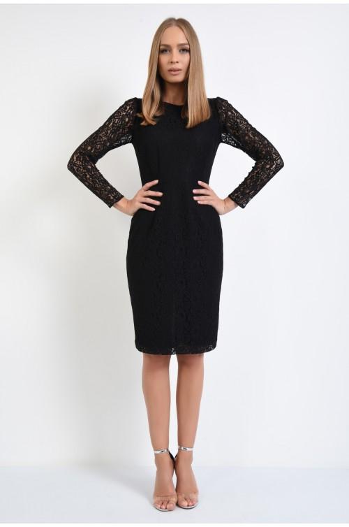 360 - rochie eleganta, conica, neagra, din dantela