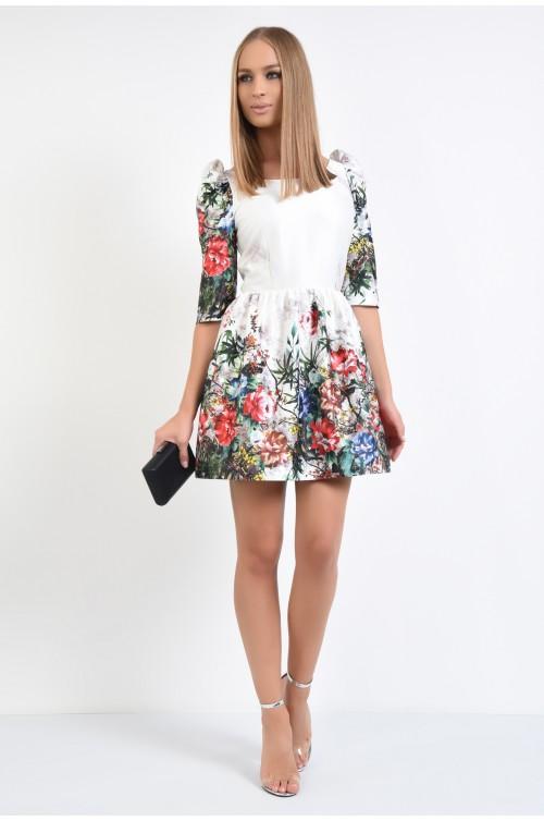 360 - rochie eleganta, din tafta, imprimeu floral, clos
