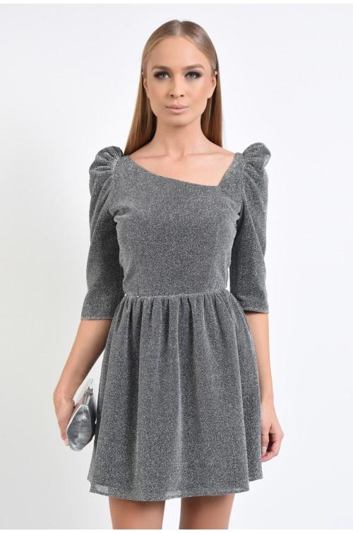 rochie de seara, maneci 3/4, decolteu asimetric, lurex argintiu