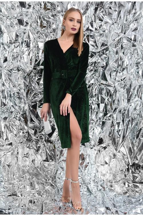 rochie de ocazie, verde, din catifea, cu sclipici