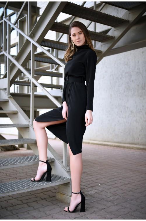 360 - rochie neagra, midi, petrecuta, cu centura, guler inalt