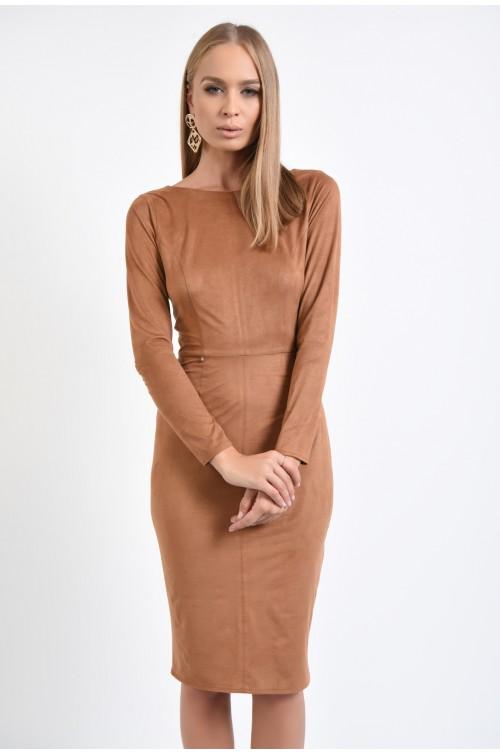 rochie eleganta, conica, piele intoarsa eco, decupaj cu funda la spate, maro
