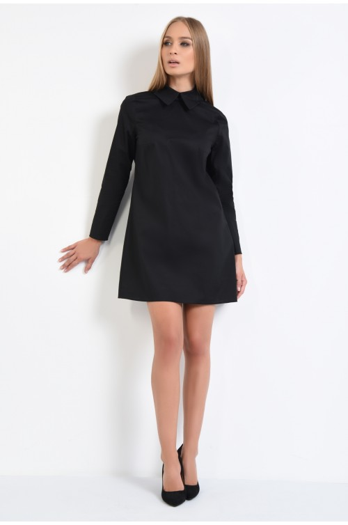 360 - rochie tip camasa, neagra, scurta, croi larg, spate cu pliuri