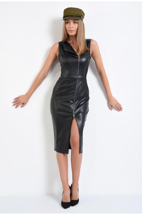 360 - rochie midi, din piele, neagra, fermoar metalic