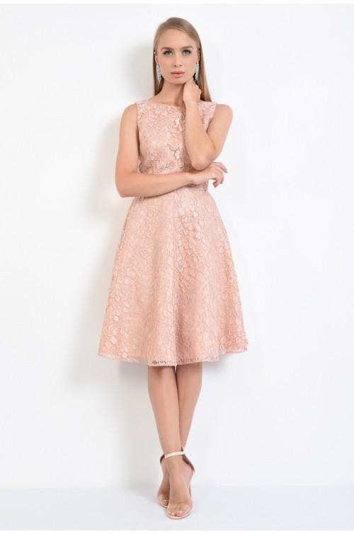 360 - rochie de seara, dantela roz, cloche, rochii online