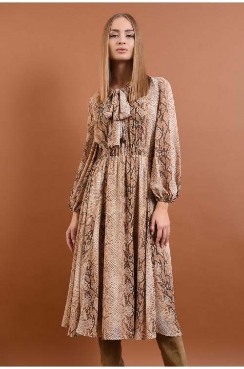 360 - rochie eleganta, de zi, din voal, imprimata, sarpe, maneci lungi, esarfa