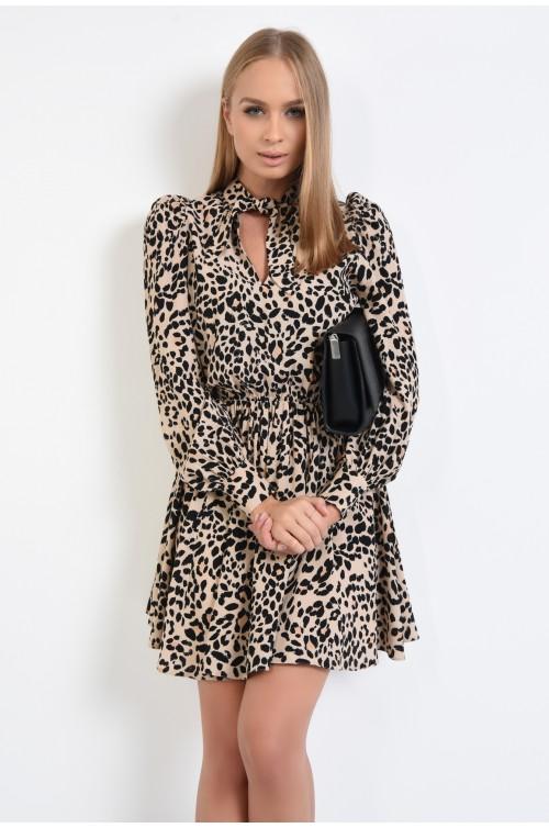 rochie casual, cu imprimeu, scurta, funda innodata