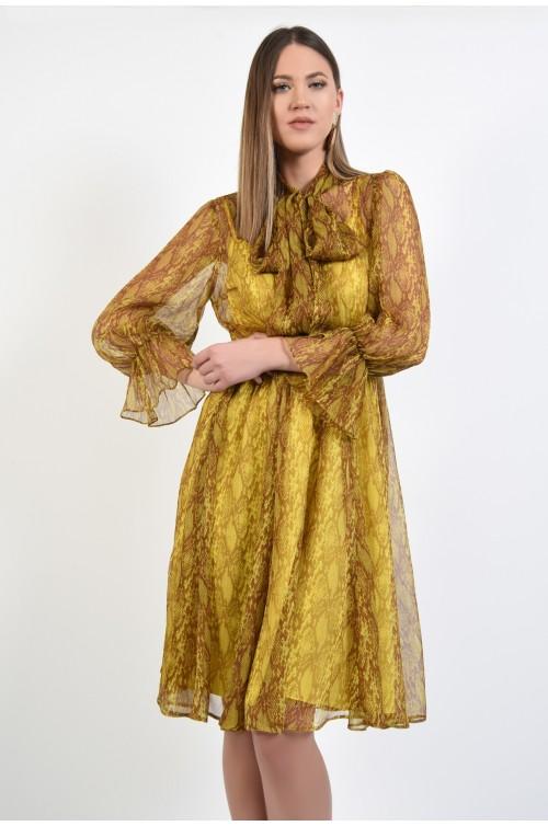 rochie eleganta, de zi, din matase, midi, clos, imprimeu sarpe