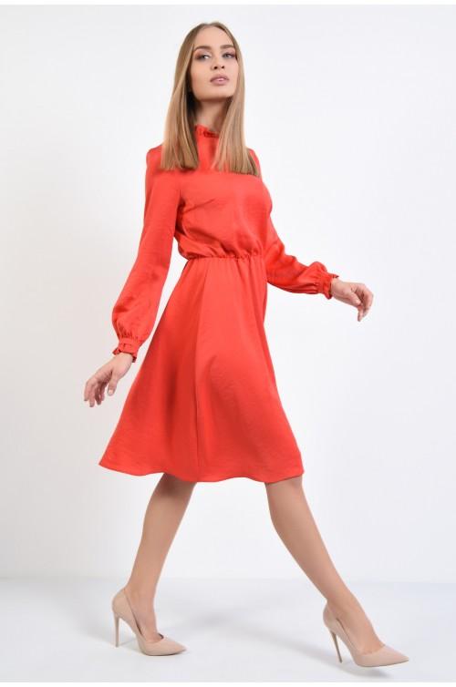 360 - rochie eleganta, corai, maneci lungi, rochii online, talie pe elastic