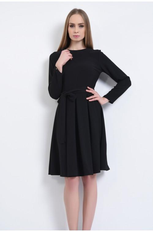 rochie de zi, negru, maneci lungi, plisata, rochii de dama online