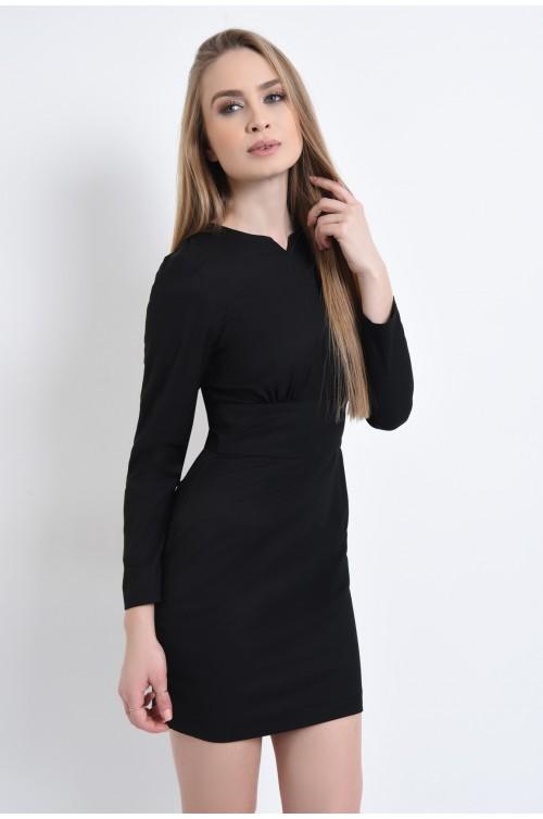 Rochie casual, mini, neagra, pliuri