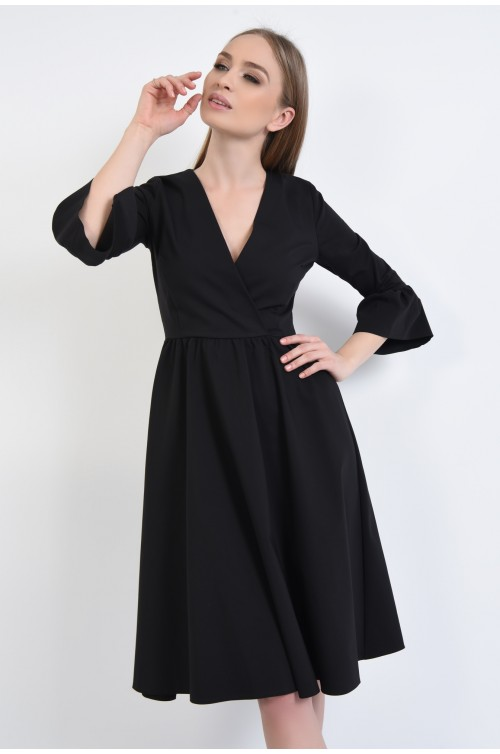 rochie casual, evazata, negru, maneci clopot