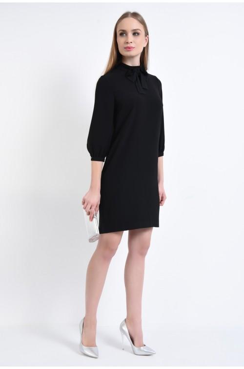 360 - rochie neagra, mini, dreapta, guler inalt, rochii de dama online, funda la gat