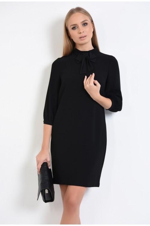 rochie neagra, mini, dreapta, guler inalt, rochii de dama online, funda la gat
