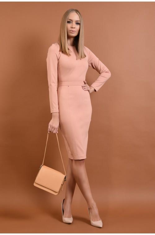 rochie casual, conica, midi, roz piersica, maneci lungi