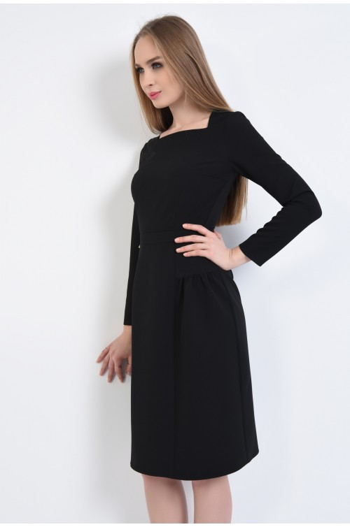 rochie casual, negru, croi evazat, maneci lungi, decolteu asimetric