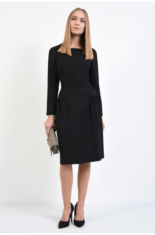 360 - rochie casual midi, inchidere cu fermoar, pliuri decorative, volan aparent, decolteu asimetric, negru