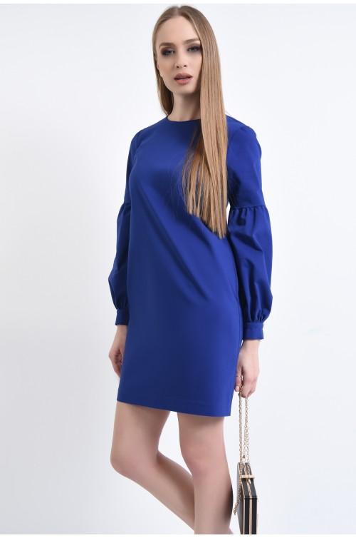 rochie casual, scurta, albastru, croi drept